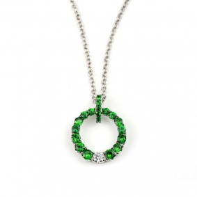 18k White Gold Green Tzavorite & Diamond Circle Pendant